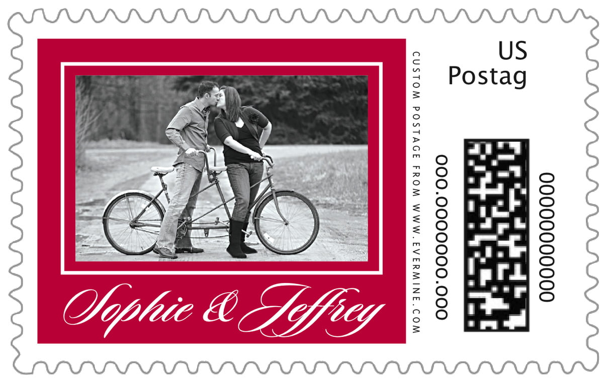 custom large postage stamps - deep red - vida (set of 20)