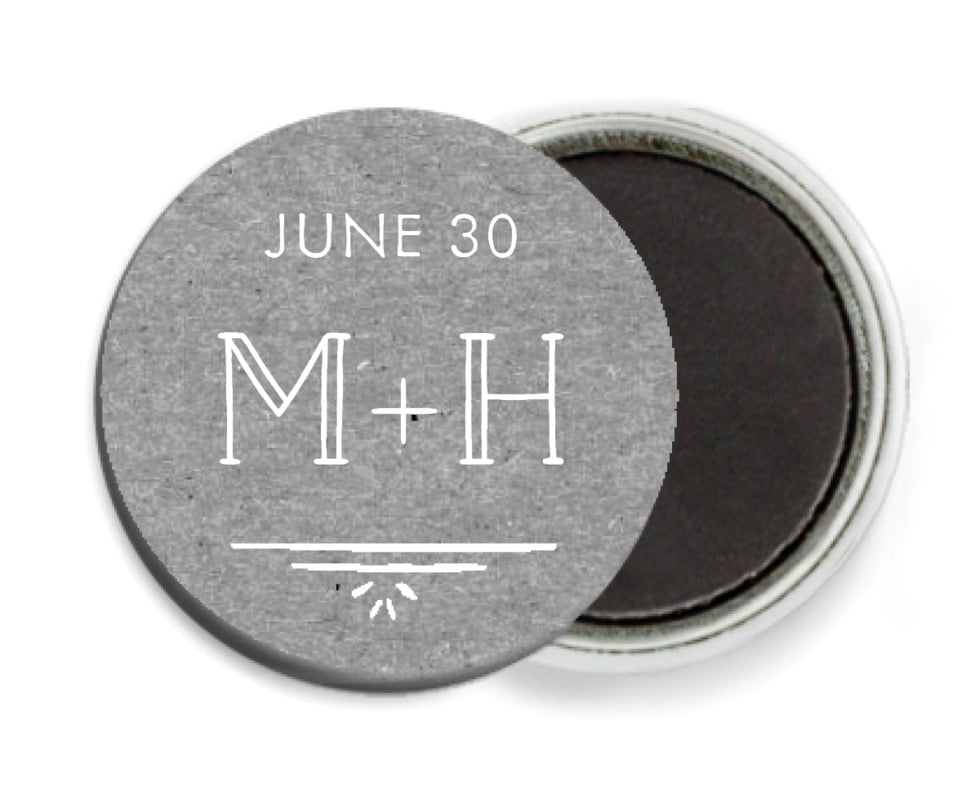 custom button magnets - kraft charcoal - vintage kraft (set of 6)