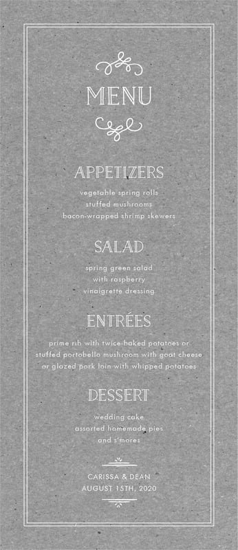 custom menus - kraft charcoal - vintage kraft (set of 10)