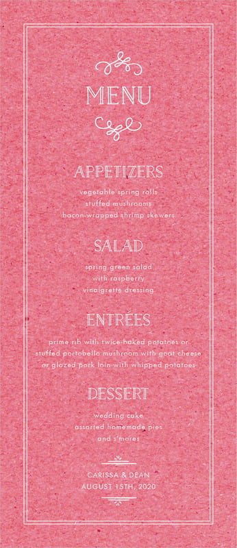 custom menus - kraft grapefruit - vintage kraft (set of 10)