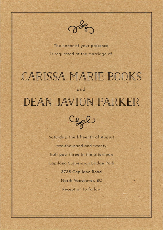 custom invitations - kraft basic - vintage kraft (set of 10)