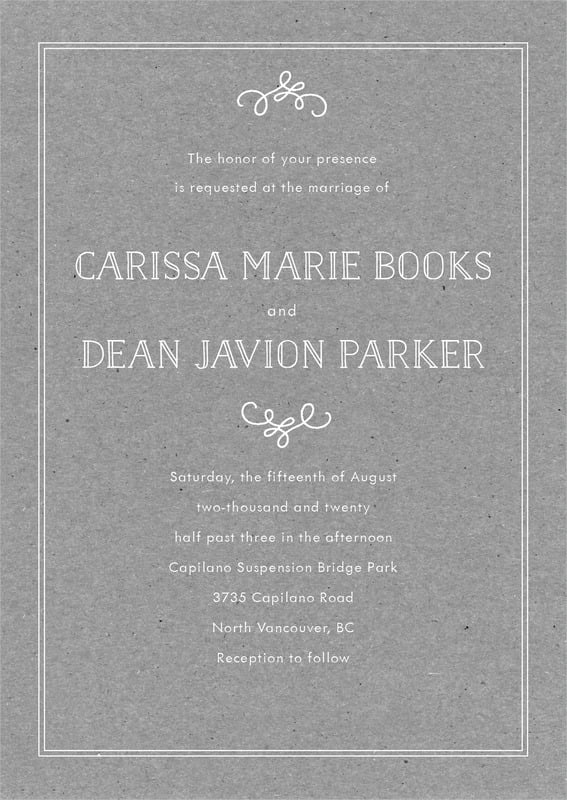 custom invitations - kraft charcoal - vintage kraft (set of 10)