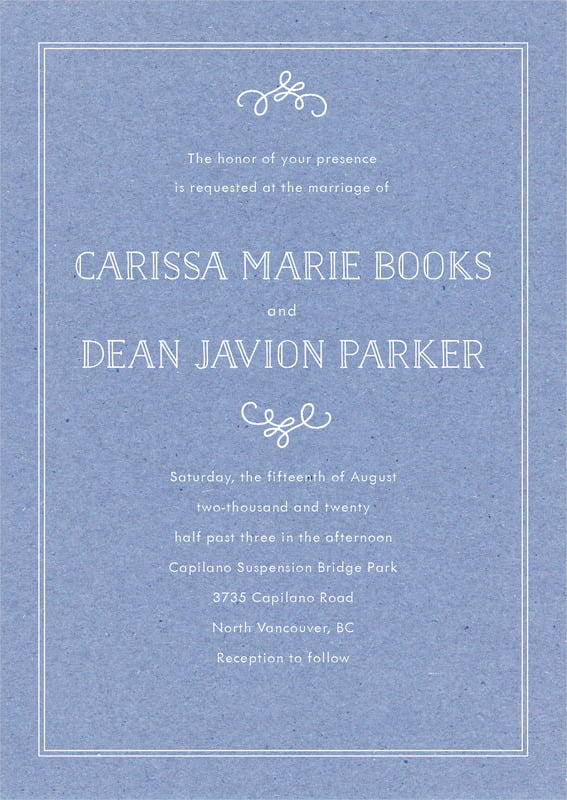 custom invitations - kraft periwinkle - vintage kraft (set of 10)