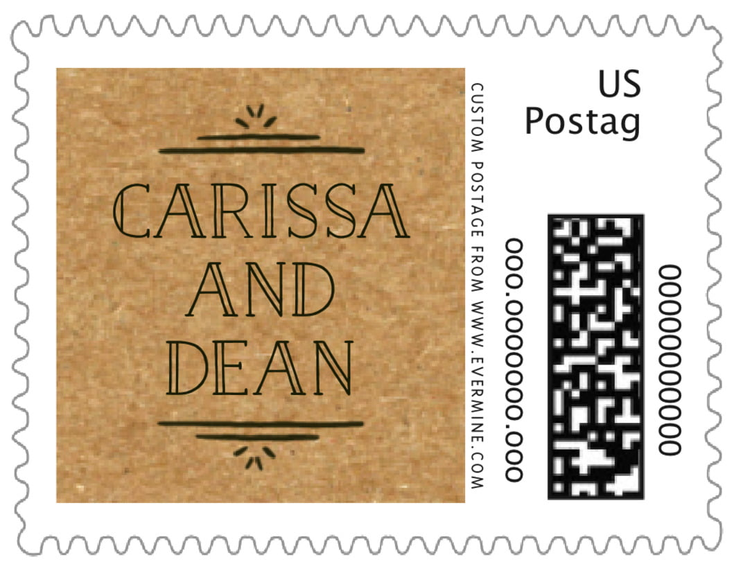 small custom postage stamps - kraft basic - vintage kraft (set of 20)