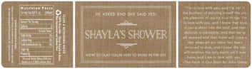 Vintage Burlap bottled water labels