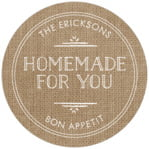 Vintage Burlap Circle Label In Burlap Basic