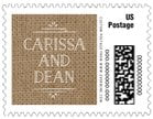 Vintage Burlap small postage stamps