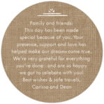 Vintage Burlap circle text labels