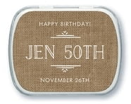 Vintage Burlap Mint Tin In Burlap Basic