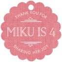 Vintage Burlap Scallop Hang Tag In Burlap Grapefruit