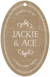 Vintage Burlap large oval hang tags