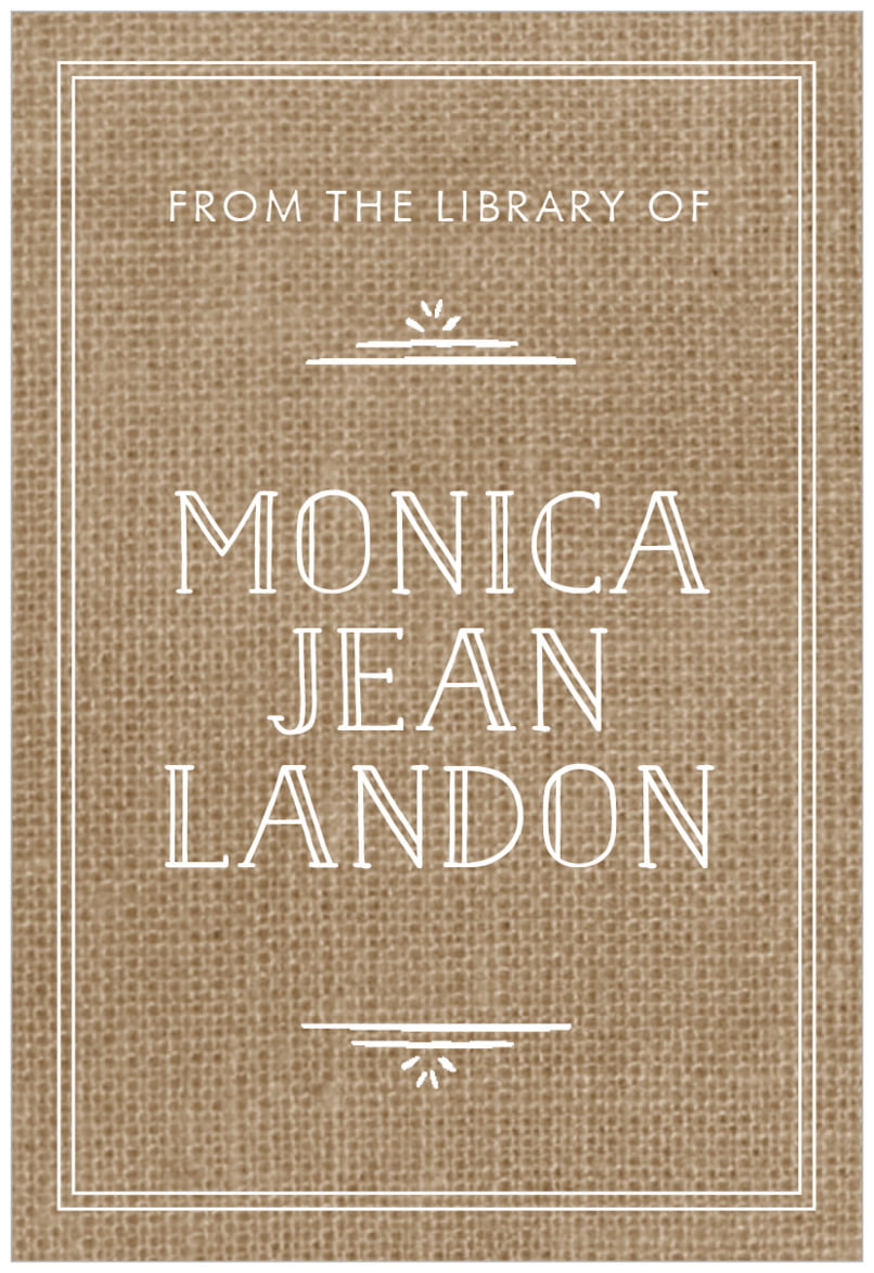 rectangular bookplates - burlap basic - vintage burlap (set of 15)