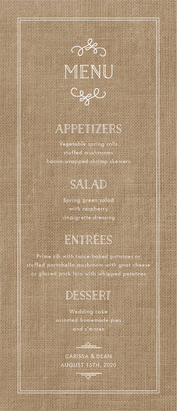 custom menus - burlap basic - vintage burlap (set of 10)