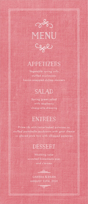 custom menus - burlap grapefruit - vintage burlap (set of 10)