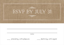 custom response cards - burlap basic - vintage burlap (set of 10)