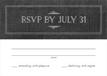custom response cards - burlap tuxedo - vintage burlap (set of 10)