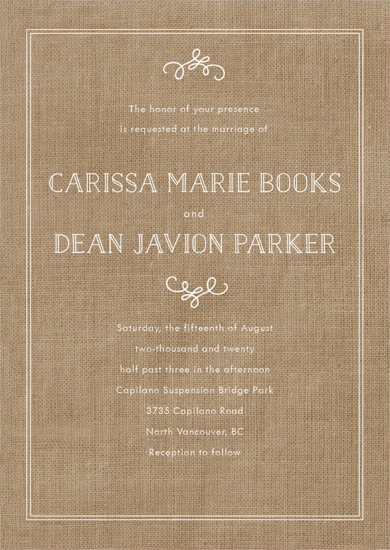 custom invitations - burlap basic - vintage burlap (set of 10)