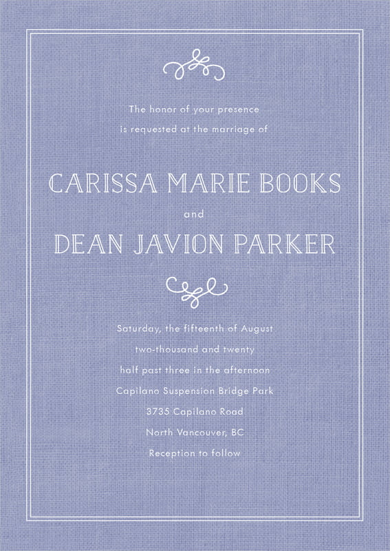 custom invitations - burlap periwinkle - vintage burlap (set of 10)