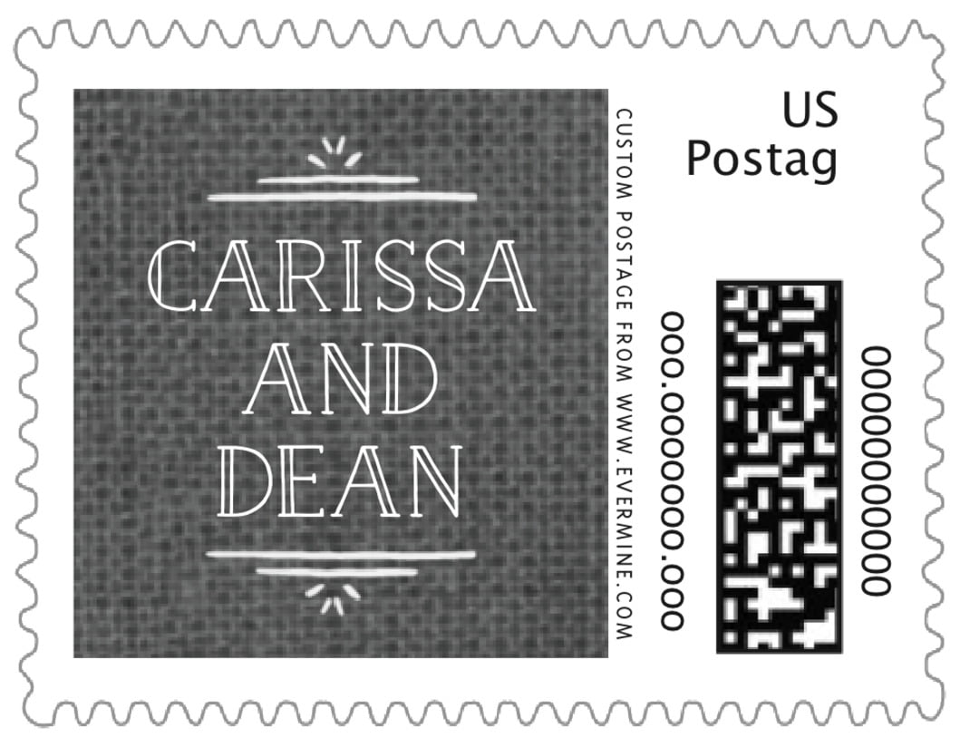 small custom postage stamps - burlap tuxedo - vintage burlap (set of 20)
