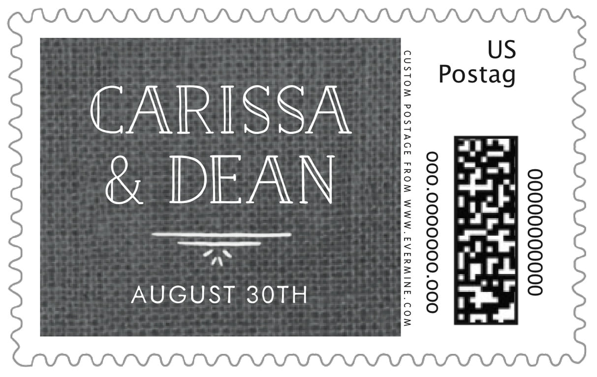 custom large postage stamps - burlap tuxedo - vintage burlap (set of 20)