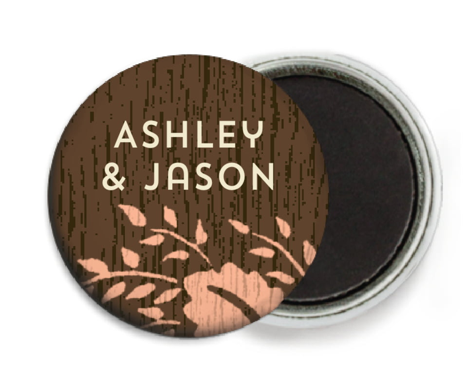 custom button magnets - peach - woodland bliss (set of 6)