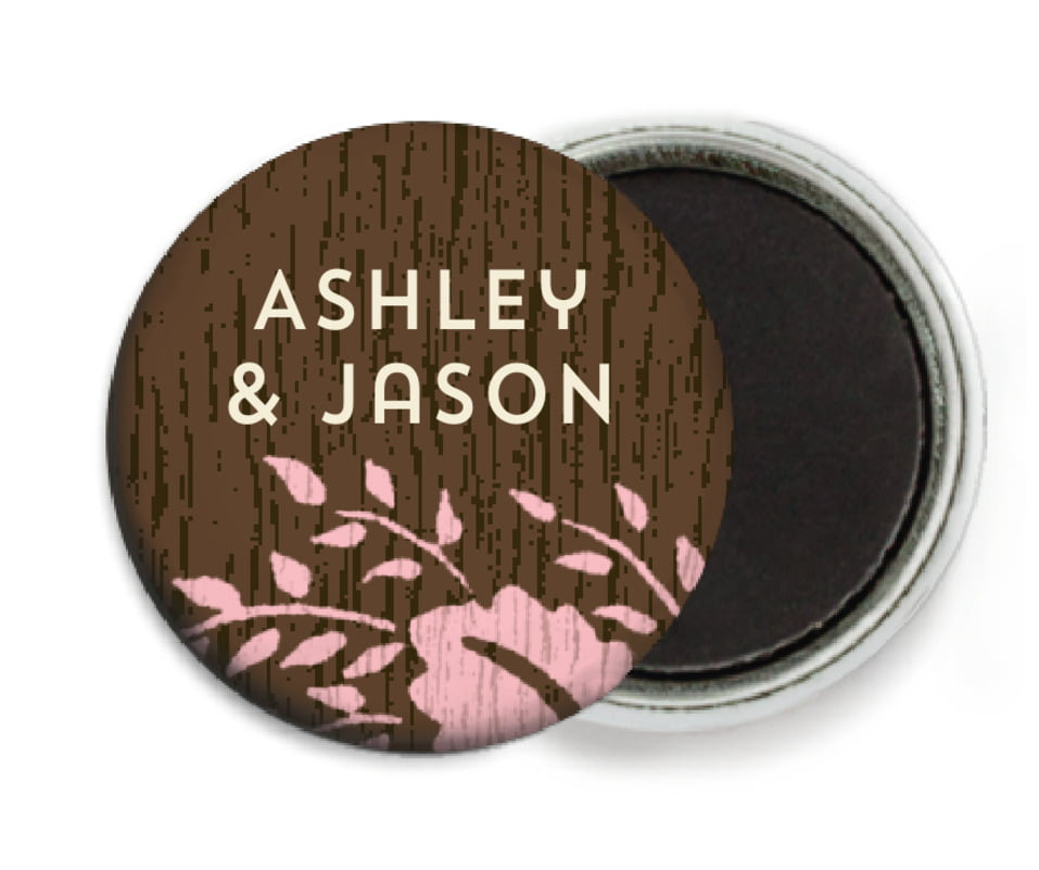 custom button magnets - pink - woodland bliss (set of 6)