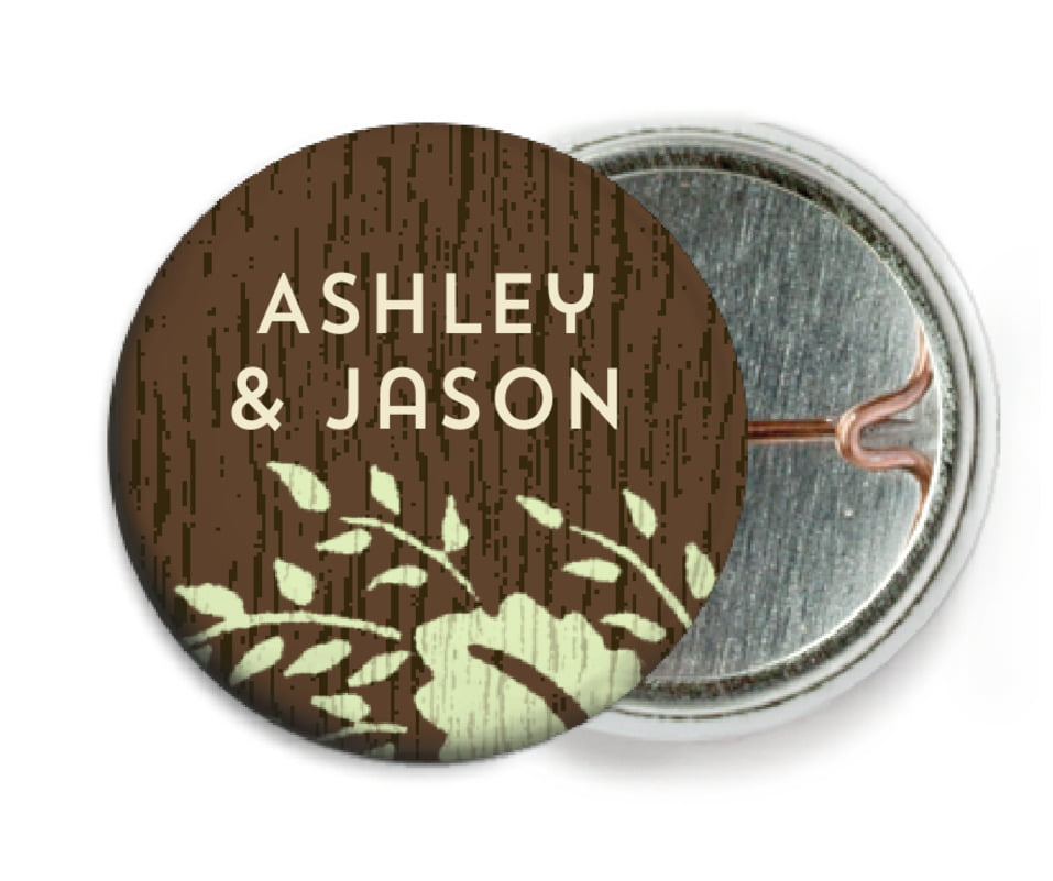 custom pin back buttons - lime - woodland bliss (set of 6)