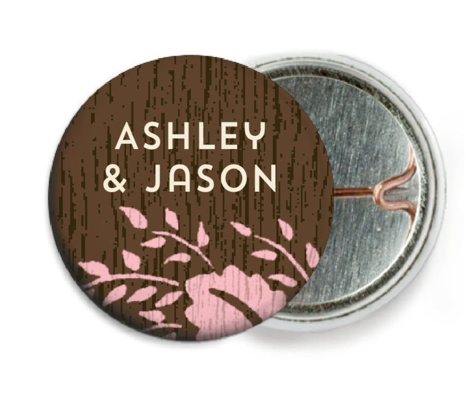 custom pin back buttons - pink - woodland bliss (set of 6)