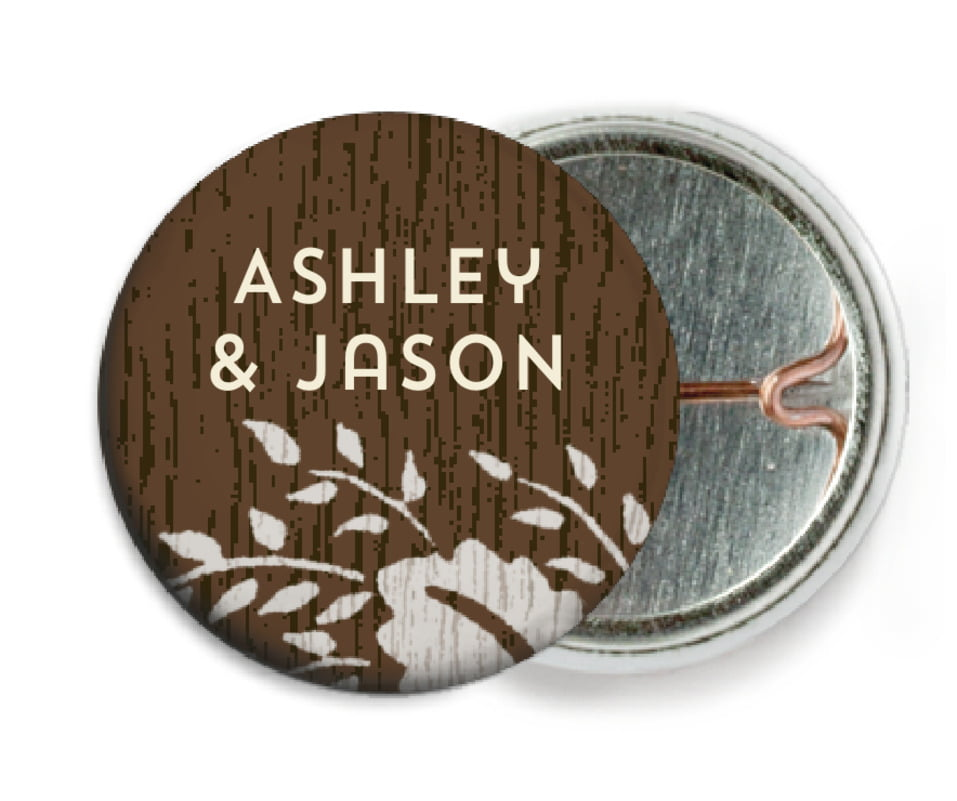 custom pin back buttons - stone - woodland bliss (set of 6)