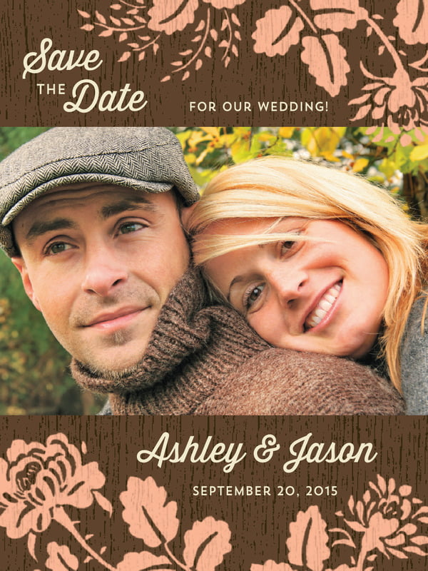 custom tall save the date cards - peach - woodland bliss (set of 10)