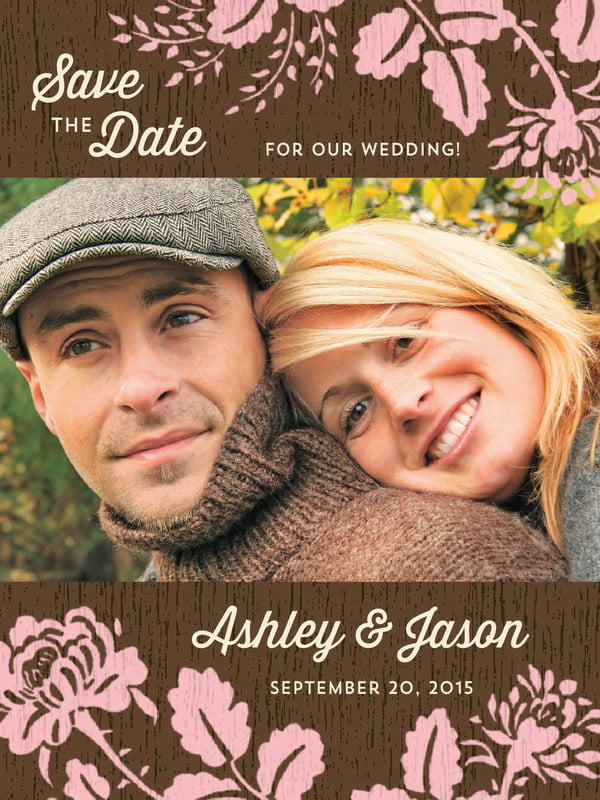 custom tall save the date cards - pink - woodland bliss (set of 10)
