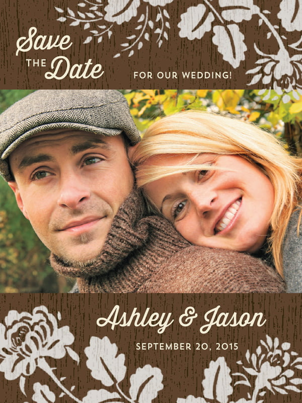 custom tall save the date cards - stone - woodland bliss (set of 10)