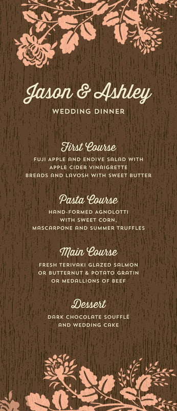 custom menus - peach - woodland bliss (set of 10)