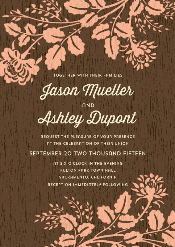 custom invitations - peach - woodland bliss (set of 10)