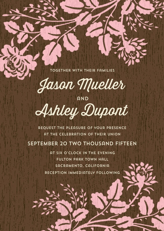 custom invitations - pink - woodland bliss (set of 10)