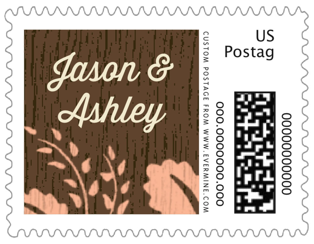 small custom postage stamps - peach - woodland bliss (set of 20)