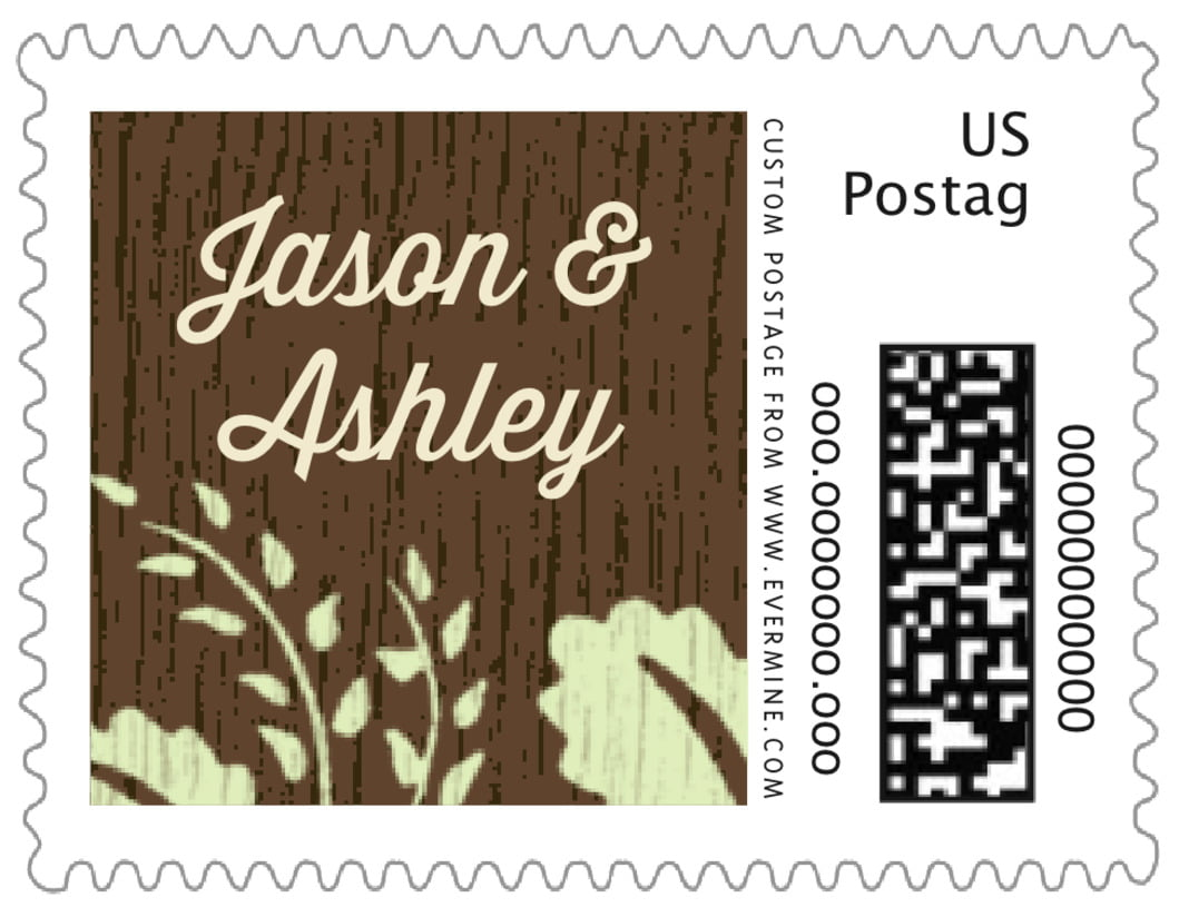 small custom postage stamps - lime - woodland bliss (set of 20)
