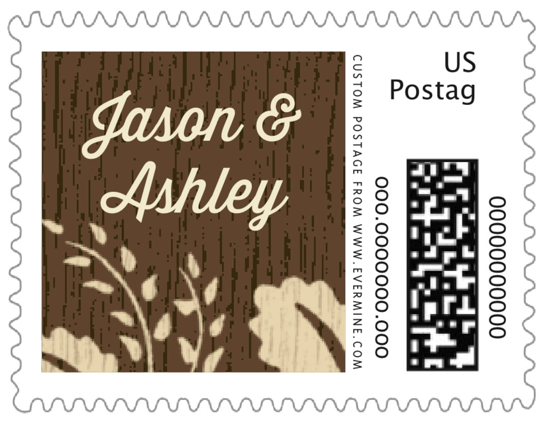 small custom postage stamps - pale gold - woodland bliss (set of 20)