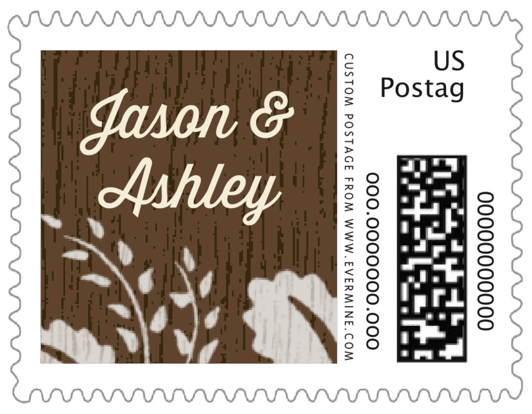 small custom postage stamps - stone - woodland bliss (set of 20)