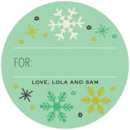 Winter Cheer Large Circle Gift Label In Mint