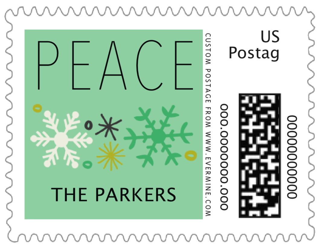 small custom postage stamps - mint - winter cheer (set of 20)