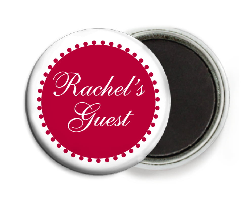 custom button magnets - deep red - westchester (set of 6)