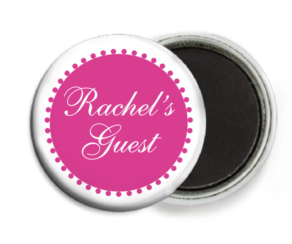 custom button magnets - bright pink - westchester (set of 6)