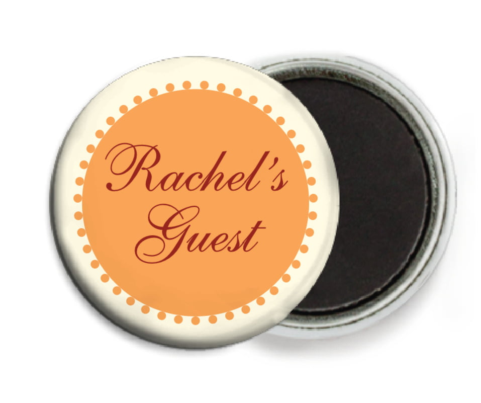 custom button magnets - tangerine - westchester (set of 6)