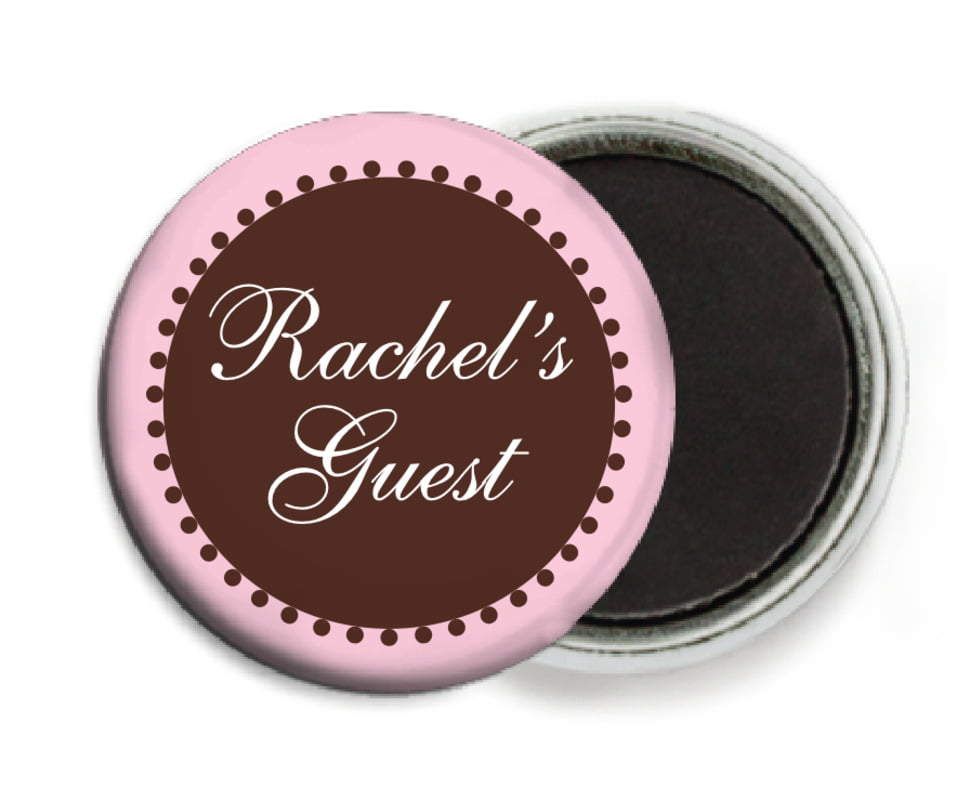 custom button magnets - cocoa & pink - westchester (set of 6)