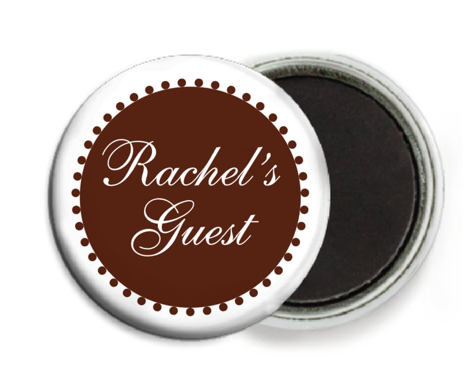 custom button magnets - chocolate - westchester (set of 6)