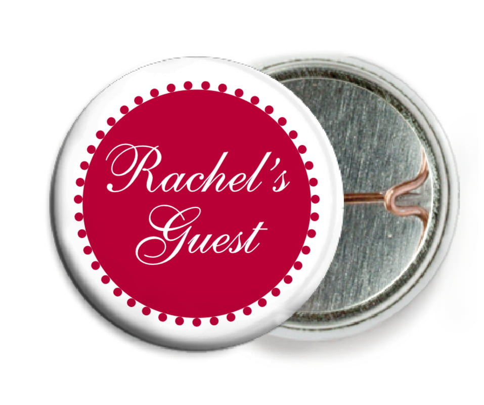 custom pin back buttons - deep red - westchester (set of 6)