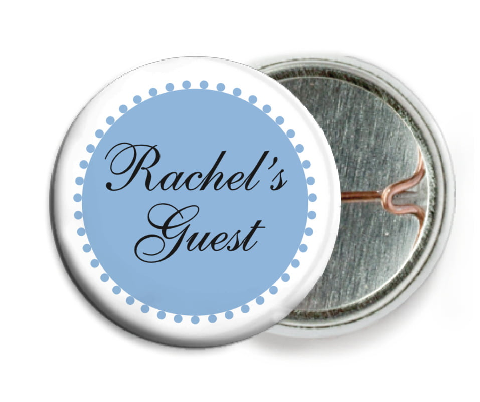 custom pin back buttons - blue - westchester (set of 6)