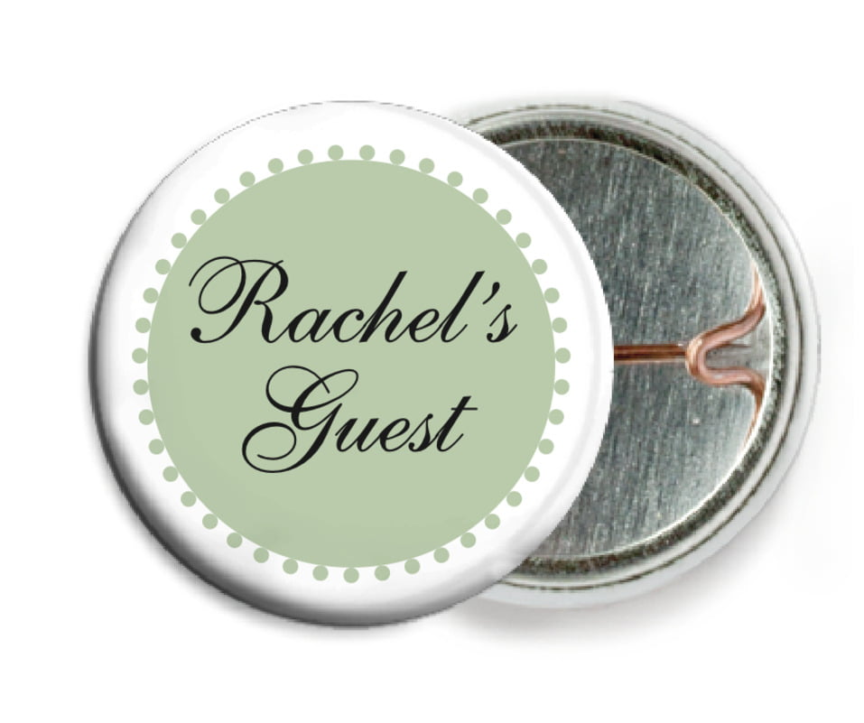 custom pin back buttons - sage - westchester (set of 6)