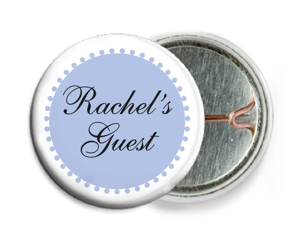 custom pin back buttons - periwinkle - westchester (set of 6)